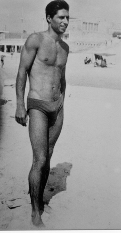 National indoor 100-meter back stroke winner and three-time participant and record holder in distance swimming competition across the Sea of Galilee. (1958)