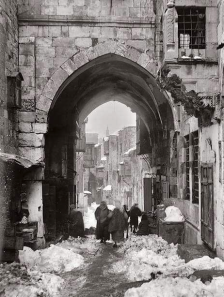 Snow on Tariq Bab el-Silsila, Chain Street, in the Old City of Jerusalem, 1921