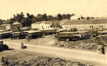 Jerusalem central bus station, 1930, where my father Yusef Nammar parked stored his bus.