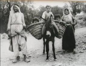 A marvelously happy family, donkey, kids, baskets and all, outskirts of Jerusalem, 1935
