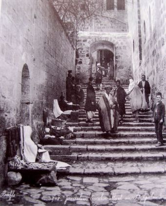 The stairs leading to the Holy Sepulcher and connecting it to the Christian Street, Old City, Jerusalem, late 1870's. Photo by Bonfils (Our extended family owns homes on this street !)