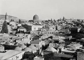 View of the Old City taken from the ramparts of Damascus Gate, Jerusalem, 1920's. I've tagged some of the landmarks. — with Alzawiya Alnakshabndieh Mosque, Scales of Souls arched columns, Austrian Hospice, Dome of the Rock, Armenian Catholic Church, Entry road from Damscus Gate and Al-Aqsa Mosque.